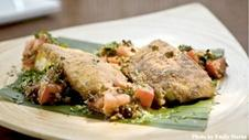 Seared Curried Butterfish with Warm Olive Chutney