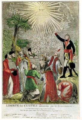 Freedom of Worship during the period of Napoleon's consulship, depicting Napoleon pointing towards the Supreme Being, 1799