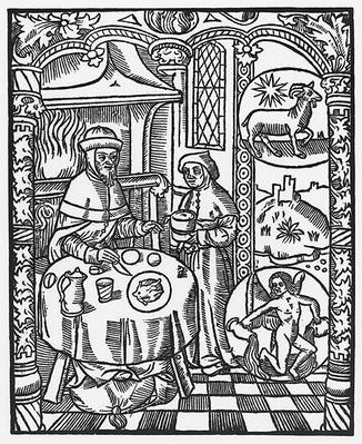 January, from the 'Almanach des Bergers', 1491