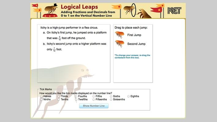 Logical Leaps | Adding Fractions and Decimals from 0 to 1 on the Vertical Number Line