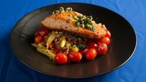 Pan Seared Salmon with Faro and Squash Sauté