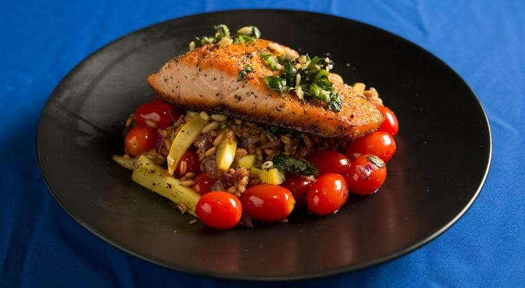 Fit to Eat: Pan Seared Salmon with Faro and Squash Sauté