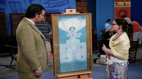 "Antiques Roadshow -- S21 Ep29: Appraisal: Evelyn Rumsey Cary ""Woman Suffrage"" Pos"