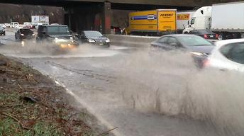 April downpours make for a messy Monday commute