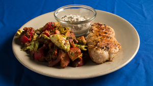 Grilled Pork Chop with Radish and Brussels Sprout Salad