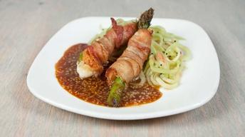 Pancetta-Wrapped Prawns & Asparagus