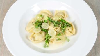 Asparagus & Goat Cheese Cappelletti with Basil