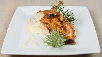 Roasted Garlic Stuffed Chicken with Mustard Cream Sauce