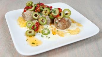 Lamb Meatballs with Goat Cream Sauce & Olive Relish