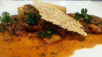 Pan-Seared Polenta with Wild Mushrooms & Gruyere Crisp