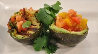Grilled Avocado with Bacon Salsa