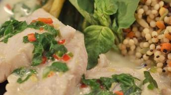 Fish in Green Curry and Basil Sauce
