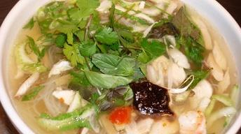 Chicken Pho with Fresh Ginger, Bok Choy and Shiitakes