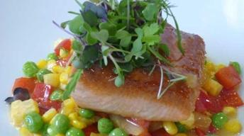 Salmon and Saffron Summer Succotash