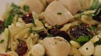 Orzo Pasta with Scallops & Cherries