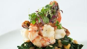 Poached Spot Prawns with Chickpeas and Kale