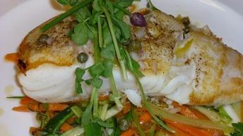 Fresh Wild Alaskan Halibut with Tagliatelle Vegetables