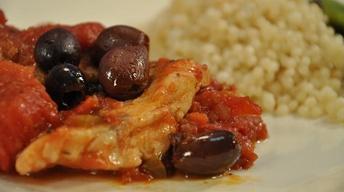True Cod with Stewed Tomatoes & Kalamata Olives