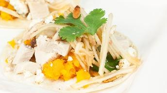 Turkey Tacos with Squash, Pumpkin Seeds & Cheese