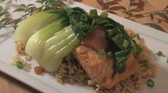 Poached Japanese Salmon with Brown Rice