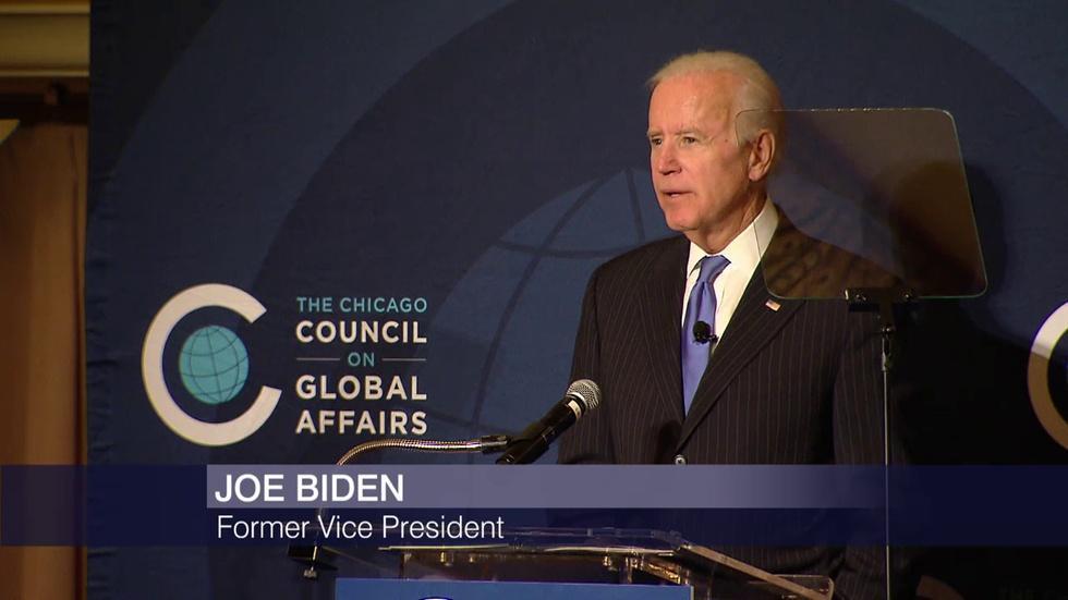 Joe Biden Sounds Alarm on Trump and Russia in Chicago Speech image
