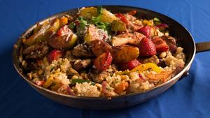 Garlic Pork Stir Fry with Brown Rice Casserole