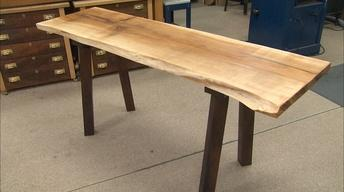 Natural Edge Slab Tables with Recycled Metal Legs/Block Tops