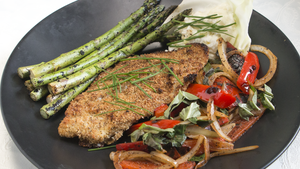 Baked Catfish, Grilled Asparagus & Roasted Red Pepper Slices