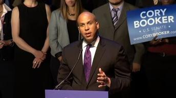 Cory Booker Celebrates Win in Special Senate Election