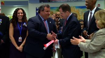 Christie Embraced by Democratic Union City Mayor Brian Stack