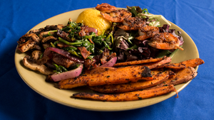 Grilled Shrimp with Sweet Potato Fries