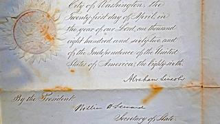Appraisal: 1862 Lincoln Signed Document
