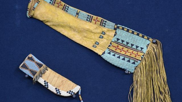 Appraisal: Plains Indian Knife Sheath & Beaded Bag, ca. 1870