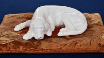 "Appraisal: Roseville ""Ivory"" Dog Figurine, ca. 1932"