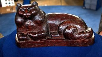 Appraisal: Carved Wood Sculpture of a Cat