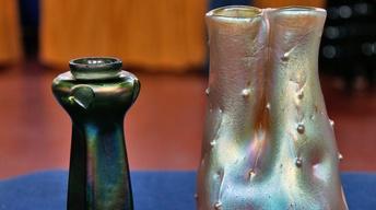 Appraisal: Bohemian & Loetz Iridescent Vases