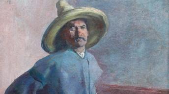 "Appraisal: 1904 Diego Rivera ""El Albañil"" Oil Painting"
