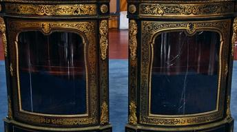 Appraisal: French Brass-Inlaid Corner Cabinets, ca. 1885