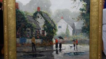 "Appraisal: Anthony Thieme Oil on canvas ""Rainy Day,"" ca. 193"