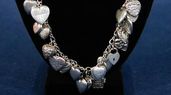 Appraisal: Victorian Puff Heart Charm Necklace, ca. 1895