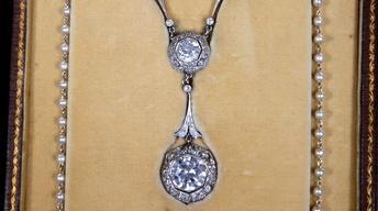 Appraisal: Diamond & Pearl Necklace, ca. 1905