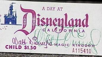 Appraisal: Walt Disney-Signed Ticket Book
