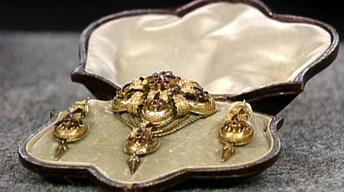 Appraisal: Gold & Topaz Jewelry Set, ca. 1835