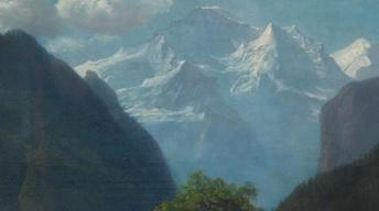 Appraisal: Albert Bierstadt Mountain Landscape Oil, ca. 1875