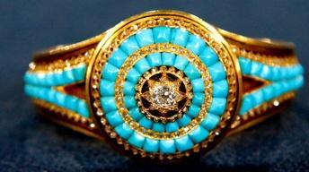 Appraisal: Persian Turquoise & Diamond Bracelet, ca. 1875