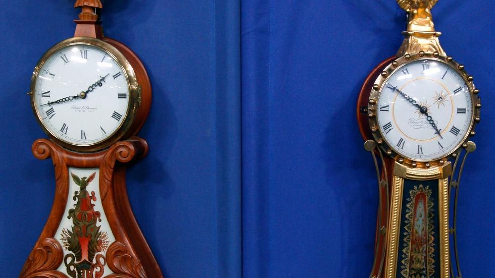 Appraisal: Elmer Stennes Wall Clocks, ca. 1970 image