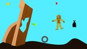 cartoon image of diver underwater with garbage around her