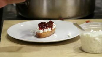 Mulled Muscadine on Crostini with Goat Cheese