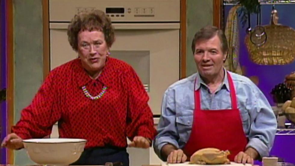 Julia Child & Jacques Pepin Prepare A Stuffed Turkey Roulade image