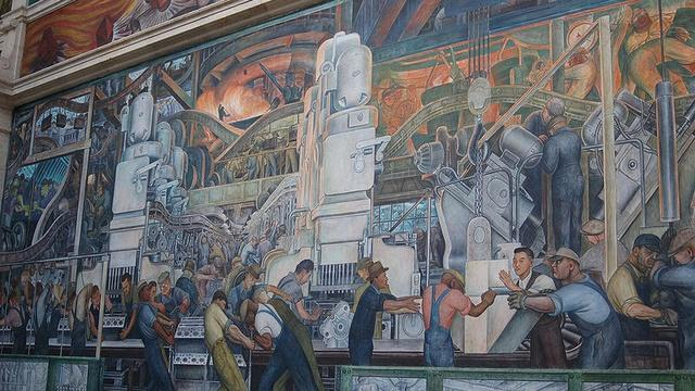 Josephine Shea & Graham Beal on the Diego Rivera mural